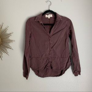 Cloth & Stone Maroon Button Up Long Sleeve Top XS